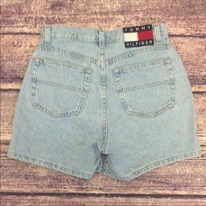 Sz 6 Vintage 90s Hilfiger Box Logo Denim Shorts